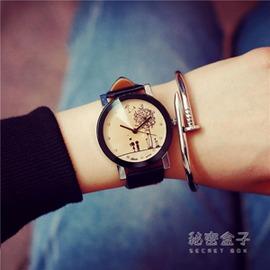 韓國 女學生心形女錶簡約防水真皮帶男錶情侶手錶一對 潮流