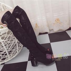 靴子 彈力瘦腿女子魚嘴高筒長靴