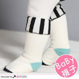 韓版反摺黑白直條紋高筒襪 中筒襪 寶寶襪【HH婦幼館】