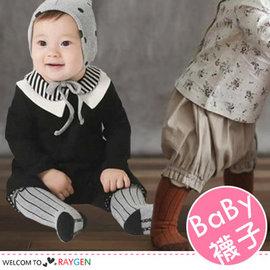 韓版木耳捲邊直條紋高筒襪 公主襪 寶寶襪 二色【HH婦幼館】