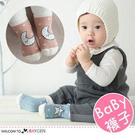 韓版藍星星粉月亮睡眠短襪 寶寶襪 二色【HH婦幼館】