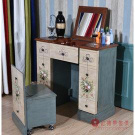^~紅蘋果傢俱^~ WJ~153 美樂蒂系列 歐式 鄉村 彩繪 化妝台 雙人床台 床架 床