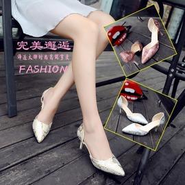 金色392016春夏 真皮尖頭印花高跟鞋細跟一字扣包頭涼鞋淺口中空女鞋
