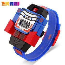 SKMEI時刻美  手錶 防水 兒童電子錶 可拆超人玩具錶 SK1095藍