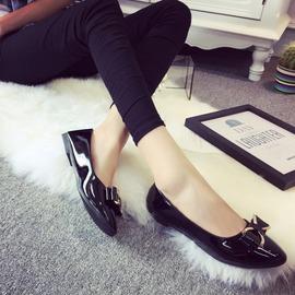 乳白色352016新品 蝴蝶結真皮平跟舒適媽媽鞋孕婦鞋平底女鞋單鞋豆豆鞋