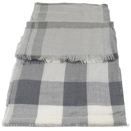 【全新現貨 優惠中】BURBERRY 3906313 英系經典格紋絲質羊毛披肩圍巾/絲巾.灰現金價$12,800