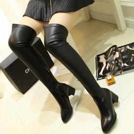 黑色40彈力長靴子女鞋真皮高筒靴側拉鏈尖頭過膝牛皮女靴子大碼40