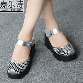白色 編織牛皮342016 涼鞋真皮松糕厚底水臺舒適坡高跟 編織包頭 女鞋