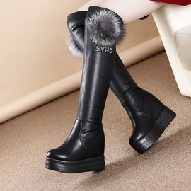 黑色352016 款厚底內增高過膝女長靴 高跟瘦腿百搭長筒高靴騎士靴