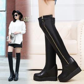 黑色352016 款真皮厚底內增高過膝女長靴英倫風側拉鏈高跟長筒女高靴