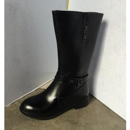 黑色35 處理外貿女鞋 2016 款真皮圓頭簡約百搭絨里大碼高筒女靴