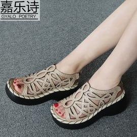 黑色牛皮342016夏新品真皮 涼鞋女坡跟厚底細帶縷空后絆帶羅馬涼靴軟底鞋
