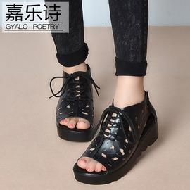 黑色牛皮36 2016新真皮厚底坡跟涼鞋女系帶縷空 羅馬涼靴軟底媽媽鞋