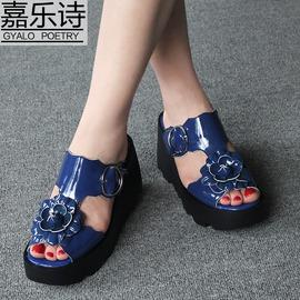 黑色漆皮392016夏涼鞋女坡跟厚底一字型涼拖鞋復古森系花朵軟底 真皮涼鞋