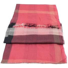 【全新現貨 優惠中】BURBERRY 3922717 英系經典格紋絲質羊毛披肩圍巾/絲巾.暗紅現金價$12,800