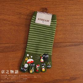 ~京之物語~ STREA綠色橫條紋小貓咪愛打掃女性彈性五趾短襪