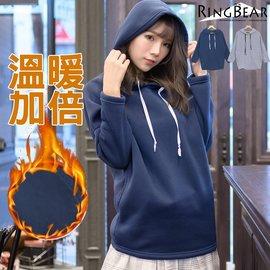 連帽~~簡約暖膚寬鬆連袖雙側圓弧口袋素面長袖連帽內刷毛長版上衣^(灰.藍XL~4L^)~X
