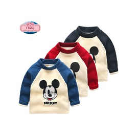 2016秋裝  男童 兒童 中小童 加絨 加厚 迪士尼 米奇 立領 打底衫 上衣 長袖T恤