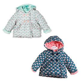 英國 Minoti 花葉插圖內絨毛鋪棉厚保暖連帽外套 ~ 深藍  白色 23189