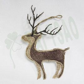 ~ 造花~ ~聖誕飾品~^~8.5吋鹿吊飾^~ ~馴鹿側面粗布製品 田園森林系風格 小動物