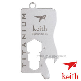 【KEITH】100%純鈦 超輕戶外工具吊牌(僅13g).多功能工具.8-12扳手.量尺.開瓶器.螺絲刀/Ti1302