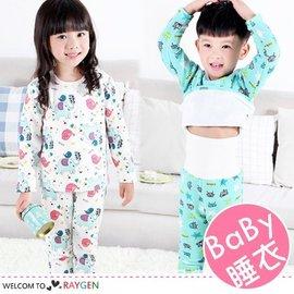 冬季卡通印花加絨寶寶高腰護肚居家睡衣 套裝【HH婦幼館】