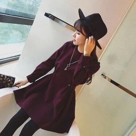 PS Mall 顯瘦羊絨毛呢料修身收腰圓領加厚長袖連身裙 洋裝~T4304~
