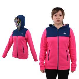 ADIDAS 女連帽外套 (免運 保暖 刷毛 慢跑 路跑 訓練【03391175】≡排汗專家≡
