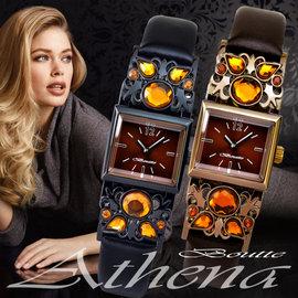 BOUTTE 雅典娜女石英錶 ^(黑色 咖啡色~錶徑23^~43mm^) 加贈禮