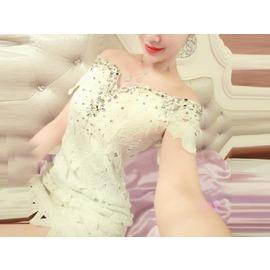 ^~Love Fei 艾菲^~ 性感露肩一字領 水鑽裝飾摟空花朵刺繡小禮服 001~756