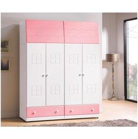 ~奇威居家 館 ~~D17029~5~粉紅雙色2.5衣櫃 衣櫥 雙人床架 斗櫃 床頭櫃 化