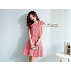^~Love Fei 艾菲^~ 小香風小格子 棉麻兩件式短袖套裝 2色 S~XXL 001