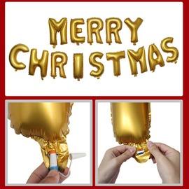 ~P16112502~ 聖誕 Merry Christmas 金色立體字母 汽球