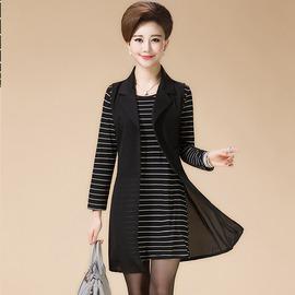 黑色4XL媽媽裝秋裝兩件套中年春秋女裝中老年人中長款連衣裙套裝40~50歲