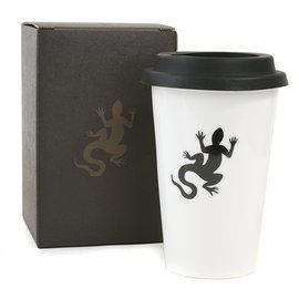 ~Omagic~agnes b. 黑色蜥蜴logo雙層瓷杯 白底黑蓋  139998~76