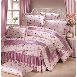 【諾貝達•莫卡利】玫瑰花園 40支棉七件組-5x6.2呎雙人(100%精梳棉)鋪棉床罩組R7015-M