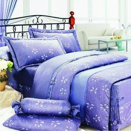【諾貝達•莫卡利】花香(藍灰) 40支棉七件組-5x6.2呎雙人(100%精梳棉)鋪棉床罩組R7031-M