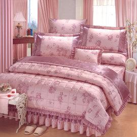 【諾貝達•莫卡利】粉紫花研 40支棉七件組-5x6.2呎雙人(100%精梳棉)鋪棉床罩組R7032-M