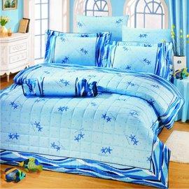【諾貝達•莫卡利】緣愛儷人 40支棉七件組-5x6.2呎雙人(100%精梳棉)鋪棉床罩組R7033-M
