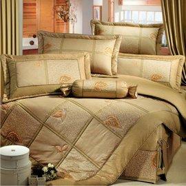 【諾貝達•莫卡利】飄葉迷情 40支棉七件組-5x6.2呎雙人(100%精梳棉)鋪棉床罩組R7028-M