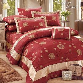 【諾貝達•莫卡利】永恆之戀 40支棉七件組-5x6.2呎雙人(100%精梳棉)鋪棉床罩組R7115-M