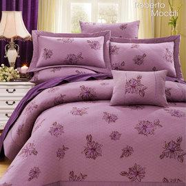 【諾貝達•莫卡利】花語風情 40支棉七件組-5x6.2呎雙人(100%精梳棉)鋪棉床罩組R7017-M