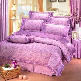 【諾貝達•莫卡利】粉紅花園 40支棉七件組-5x6.2呎雙人(100%精梳棉)鋪棉床罩組R7023-M