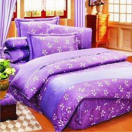 【諾貝達•莫卡利】花香(紫) 40支棉七件組-5x6.2呎雙人(100%精梳棉)鋪棉床罩組R7031P-M