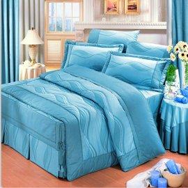 【諾貝達•莫卡利】柔情曲線 40支棉七件組-5x6.2呎雙人(100%精梳棉)鋪棉床罩組R7009B-M