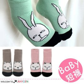 卡通大臉動物造型三色短襪 寶寶襪【HH婦幼館】