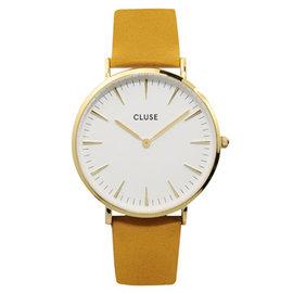 CLUSE荷蘭 手錶 波西米亞金色系列 白錶盤 芥末黃皮革錶帶38mm