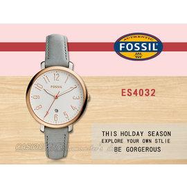 CASIO 時計屋 FOSSIL手錶 ES4032 女錶 石英錶 皮革錶帶 防水 強化玻璃