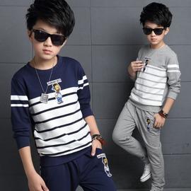 I BABY  男童 兒童 中大童 卡通拼色條紋上衣 長褲 兩件套 套裝 ~QA1506~