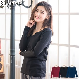 內刷毛~~親膚保暖性感小V領素面棉質內刷毛長袖上衣^(黑.紅.藍XL~2L^)~X229眼